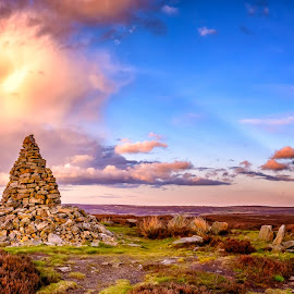 Standing stones ,Gothland by Martin Tyson - Landscapes Prairies, Meadows & Fields ( north yorkshire moors, uk, yorkshire, sunset, moors, land, north, stones, landscape, standing, historic )