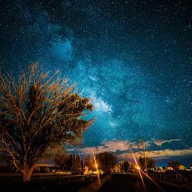 Above the Farms by Tyler Gudmundsen - City,  Street & Park  Night ( field, utah, stars, farms, long exposure, night, nikon, milky way )
