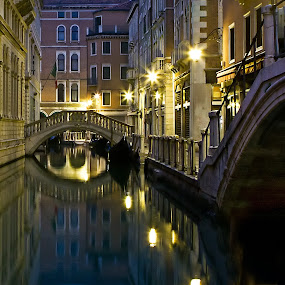 Venice Streets by Gary Beresford - City,  Street & Park  Street Scenes ( venice, reflections, night, bridge, italy, canal,  )