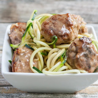 Paleo Meatballs with gravy and zoodles