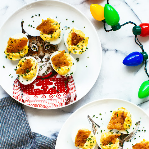 Mustard Deviled Eggs with Crispy Chicken Skin