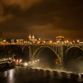 A night in Spokane by Casey Bebernes - Buildings & Architecture Bridges & Suspended Structures