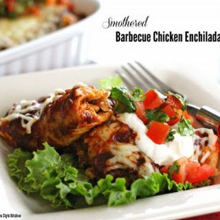 Smothered Barbecue Chicken Enchiladas