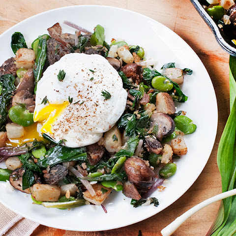 Vegetable Hash of Ramps, Fava Beans & Morels