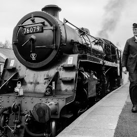 by Martin Tyson - Transportation Trains ( north yorkshire moors, uk, black and white, track, north, heritage, historic, grosmont, railway, yorkshire, transport, moors, nymr, train, 76079, driver, steam )