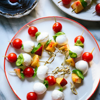 Simple Caprese Skewers with Balsamic Dipping Sauce