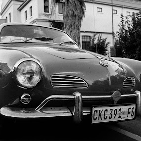 Karmann Ghia Front View by Jean Plessis - Transportation Automobiles ( vw, karman ghia, classic car, black and white )