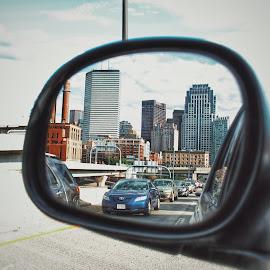 by Renita Beaus - City,  Street & Park  Skylines ( mirror, rearview, skyline, cars, city )