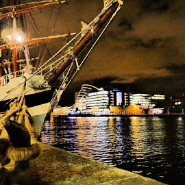 The Boat by Jimmy Fitz - City,  Street & Park  Vistas ( water, ireland, dublin, reflections, boat, dock, river )