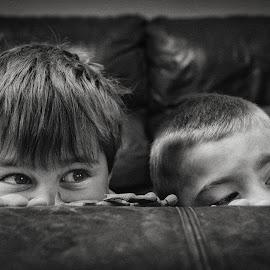Dash & Luca by Dan Horton-Szar ARPS - Babies & Children Children Candids ( monochrome, hiding, black and white, family, boys, children, candid )