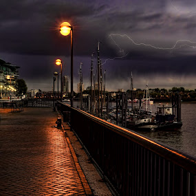 Stormy Night by Angel Weller - City,  Street & Park  Historic Districts ( lightning, skyline, storm, city, river )