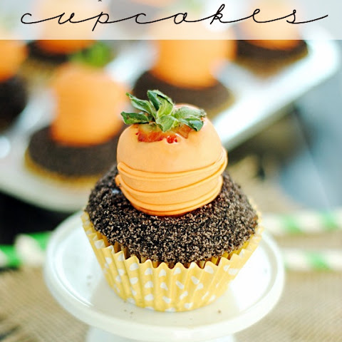 Carrots & Dirt Cupcakes {with chocolate covered strawberries}