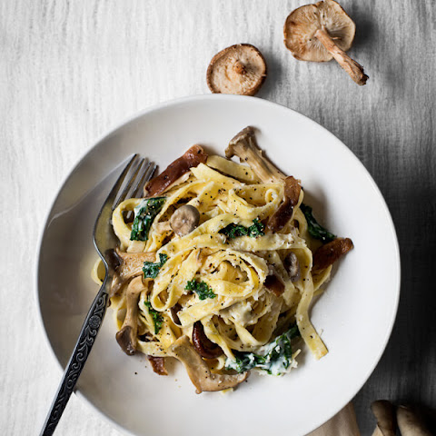 Fresh Fettuccine with Mushroom & Kale Cream Sauce