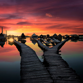 Fishing houses by Atanas Donev - Landscapes Sunsets & Sunrises ( reflection, red, sunset, path, houses in water, lake )