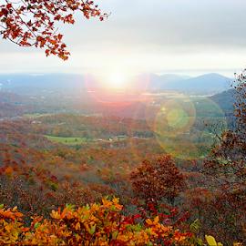 Blue Ridge Mountains Sunset by Darlene Lankford Honeycutt - Digital Art Places ( blue ridge mountains, sunset, dl honeycutt, landscape, lens flare, digital )