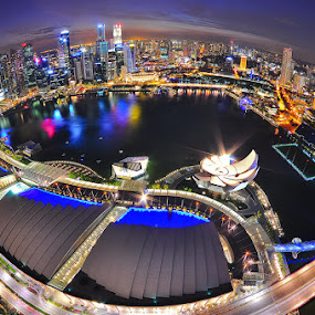 Marina Bay Sand @ Night by Chatchai Lakamankong - City,  Street & Park  Vistas