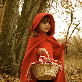 by Lori Lei Herr - Babies & Children Children Candids ( fairy tale, red riding hood, children, forest, leaves, child, story, red, girl, tree, autumn, fall, basket, costume, antique )