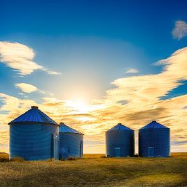 by Kendra Perry Koski - Buildings & Architecture Other Exteriors ( canon, tripp county, carter, dakotawindsphoto.com, america, hdr, 2016, winner, us, south dakota, witten, landscape, united states, rural, skies, country, march, grain bins, blue, daktawindsphoto.com )