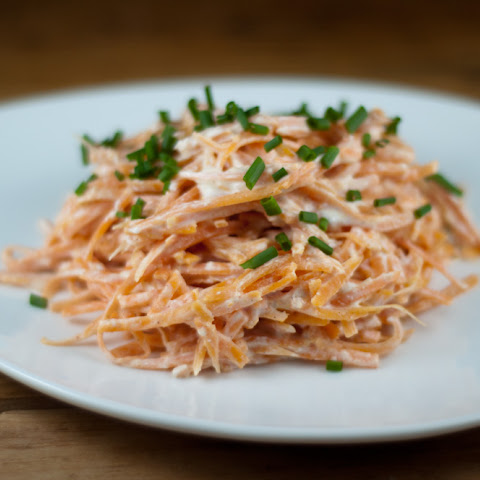 Sweet Potato Spaghetti With Tangy Yogurt Sauce & Chives