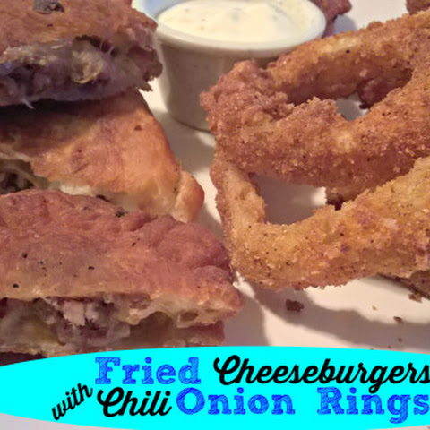 Fried Cheeseburgers with Chili Onion Rings Recipe!