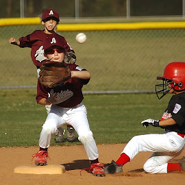 Play at second by Keith Johnston - Sports & Fitness Baseball ( ball, bag, game, helmet, athletes, infield, baseball, dust, players, action, base, slide, dirt, competition )