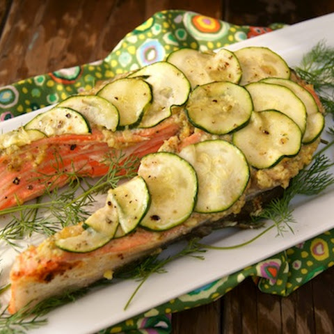 California King Salmon with Lemon-Caper Pesto and Zucchini