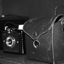 Vintage Cameras by Daryl Peck - Novices Only Objects & Still Life ( novice, black and white, vintage, still life, camera, object )