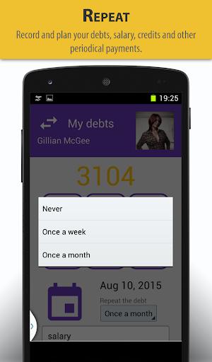Remember your debts - screenshot
