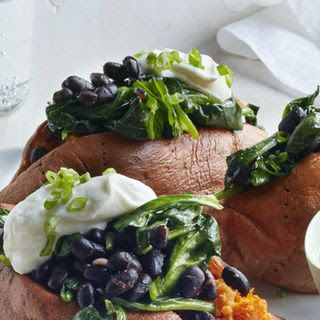 Sweet Potatoes Stuffed with Black Beans and Spinach