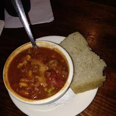 GF chili with homemade GF rice bread