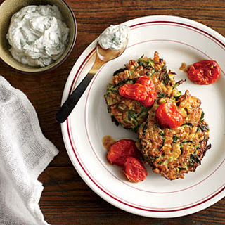 Zucchini-Farro Cakes with Herbed Goat Cheese and Slow-Roasted Tomatoes