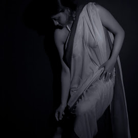 Wet by Mahul Mukherjee - Nudes & Boudoir Artistic Nude ( nude, black and white, woman, lady, wet sari, wet, sari, transparent )
