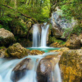 Nature Grabs You by Srdjan Vujmilovic - Landscapes Waterscapes ( water, waterfalls, grass, beautiful, forest, landscape, natural basin, nature, horizontal, outdoor, trees, day, rocks )