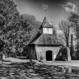 Lullington Church by Dave Godden - Black & White Buildings & Architecture ( church, lullington, smallest, lullington church )