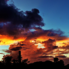 sunset clouds by CRISTINA  CASTRO - Landscapes Cloud Formations ( clouds, asphalt spout, sky, sunset )