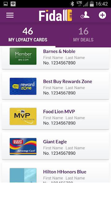 Fidall loyalty cards screenshots