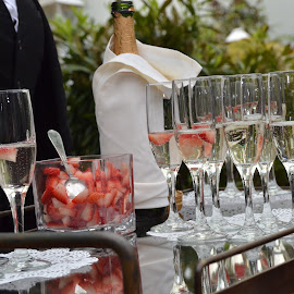 Champagne with A Strawberry by Lorraine D.  Heaney - Food & Drink Alcohol & Drinks