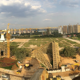 view from the top by Michael Graham - City,  Street & Park  Amusement Parks ( wooden roller coaster, amusement park, amusement ride, hot go park, theme park, roller coaster, wooden coaster, china,  )