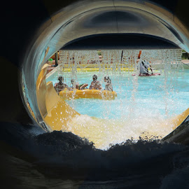Water  Park by Lurdes Matos - People Family ( playing, water, pool, yellow, circle, people, tunnel )