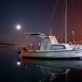 Pirovac 4 a.m. by Branko Meic-Sidic - Transportation Boats ( water, port, stillwaters, reflection, beautiful, boats, croatia, sea, quiet, moonlight, colours, calma, zloselo, pirovac )