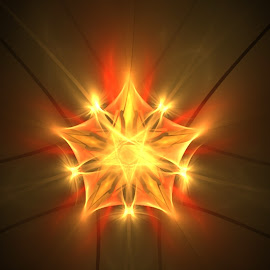 You don't have to be a star by Nancy Bowen - Illustration Abstract & Patterns ( black background, orange, star, glowing, yellow, fractal )
