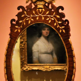 Lady in White by Leah Zisserson - Artistic Objects Antiques ( mirror, art, lady, reflections, museum, paintings )