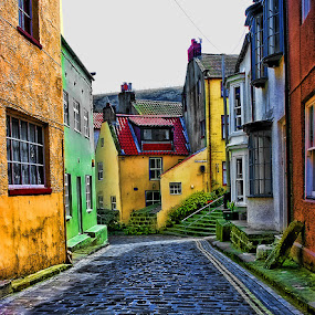 Cobbled street by Steve BB - Buildings & Architecture Architectural Detail ( village, hdr, yorkshire, shops, cobbled street, seaside )