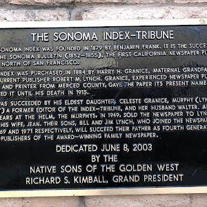 THE SONOMA INDEX-TRIBUNE THE SONOMA INDEX WAS FOUNDED IN 1879 BY BENJAMIN FRANK. IT IS THE SUCCESSOR TO THE SONOMA BULLETIN (1852-1855), THE FIRST CALIFORNIA NEWSPAPER PUBLI- SHED NORTH OF SAN ...