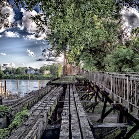 Old Rail Bridge by Scott Bryan - Transportation Railway Tracks ( old, sky, hdr, ohio, railroad, marietta, bridge, landscape, river,  )