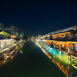 Wuzhen by Crispin Lee - Buildings & Architecture Homes ( lights, color, street, night, travel, china )