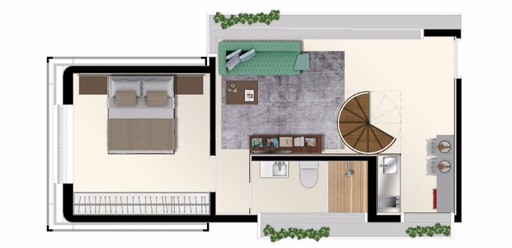 Planta Duplex Inferior 81 m²