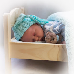 Sleepy Head by Julie Wetherell - Babies & Children Babies ( child, dream, bed, infant, baby, sleeping, baby boy, hat, teddy )