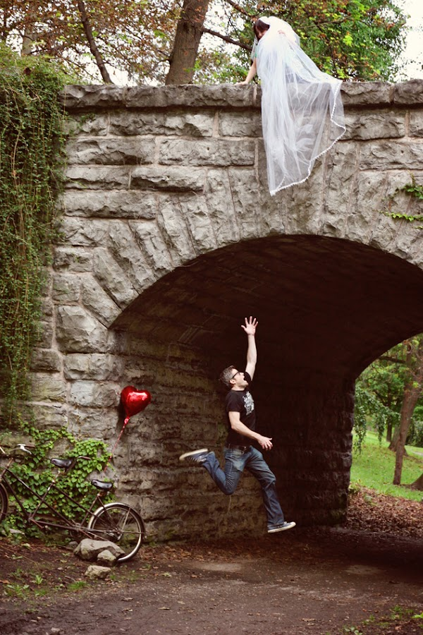 Engagement by Kristen VanDeventer Rice - People Couples ( tandem, bike, heart, bridge, balloon, bride, jump )