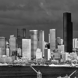 Seattle Pano Day B&W by Marie Browning - City,  Street & Park  Skylines ( water, b&w, seattle, architecture, stormy skies )